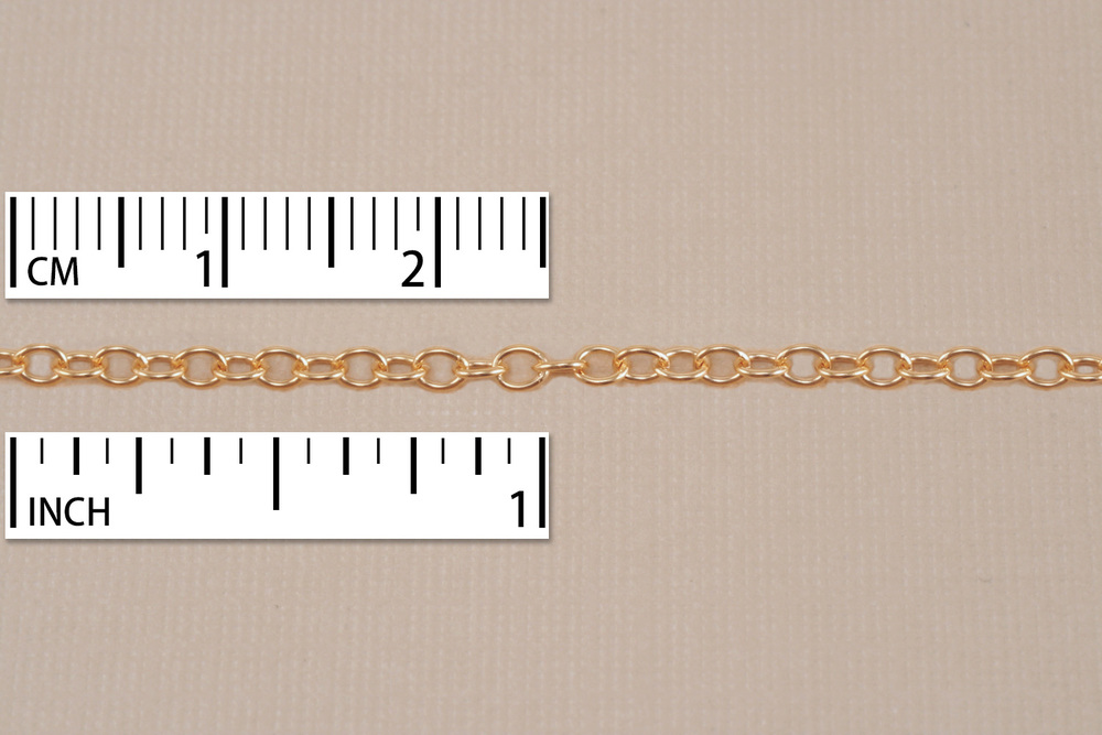 Chain & Clasps Matte Gold Finish, Small Round Cable Chain, 18""