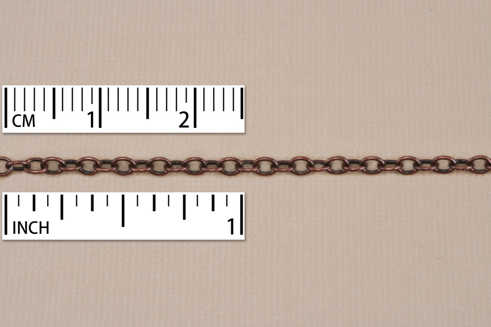 Chain & Clasps Antique Copper Finish, Small Round Cable Chain, 18""