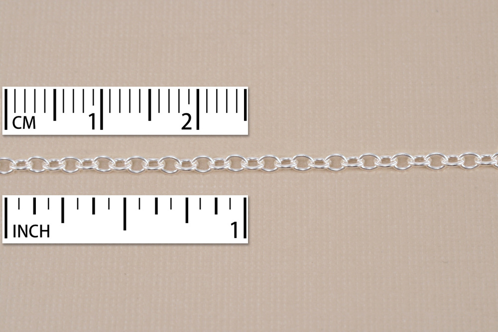 Chain & Clasps Sterling Silver Small Round Cable Chain,16""