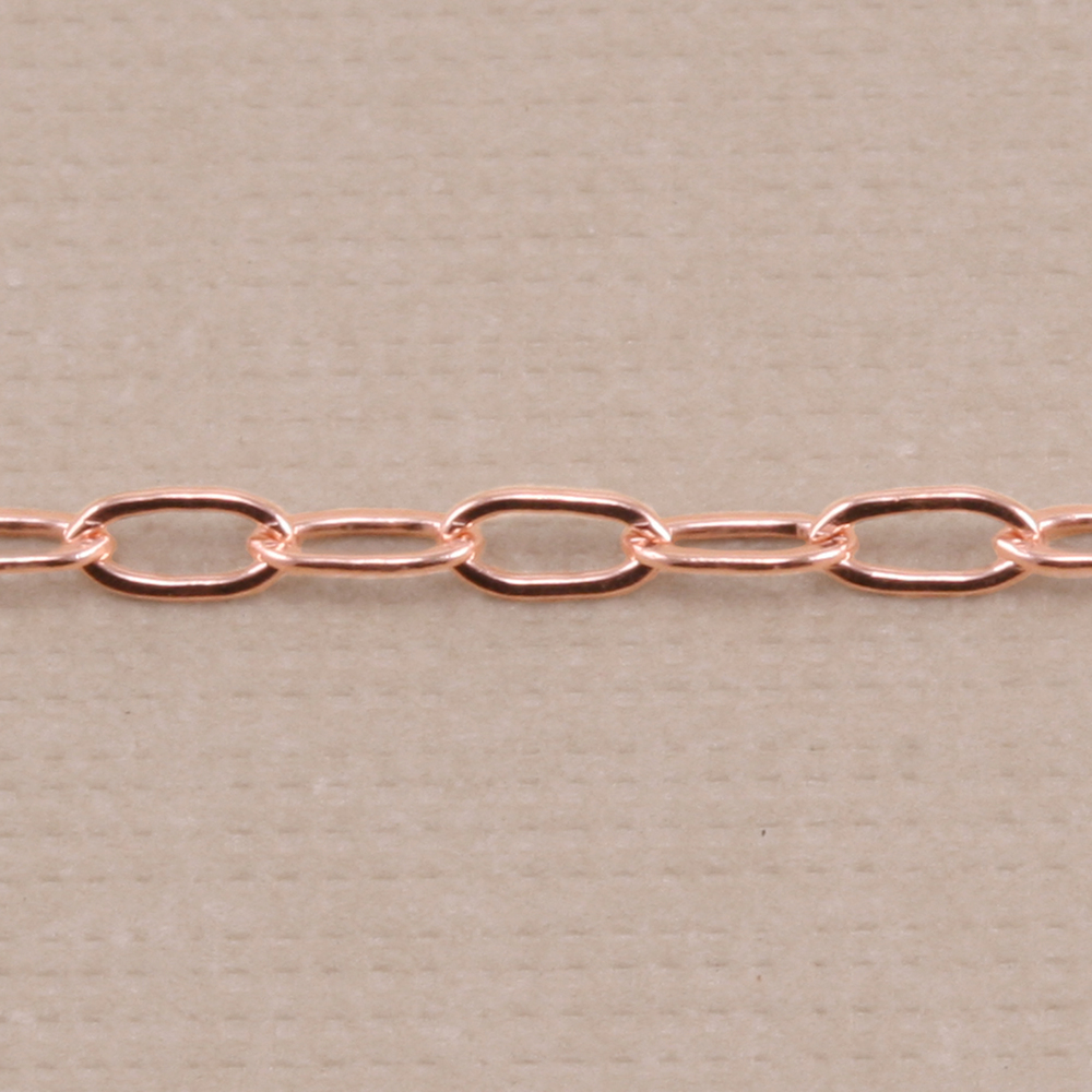 Chain & Clasps Rose Gold Filled Drawn Cable Chain 3.5mm x 2mm, by the Inch