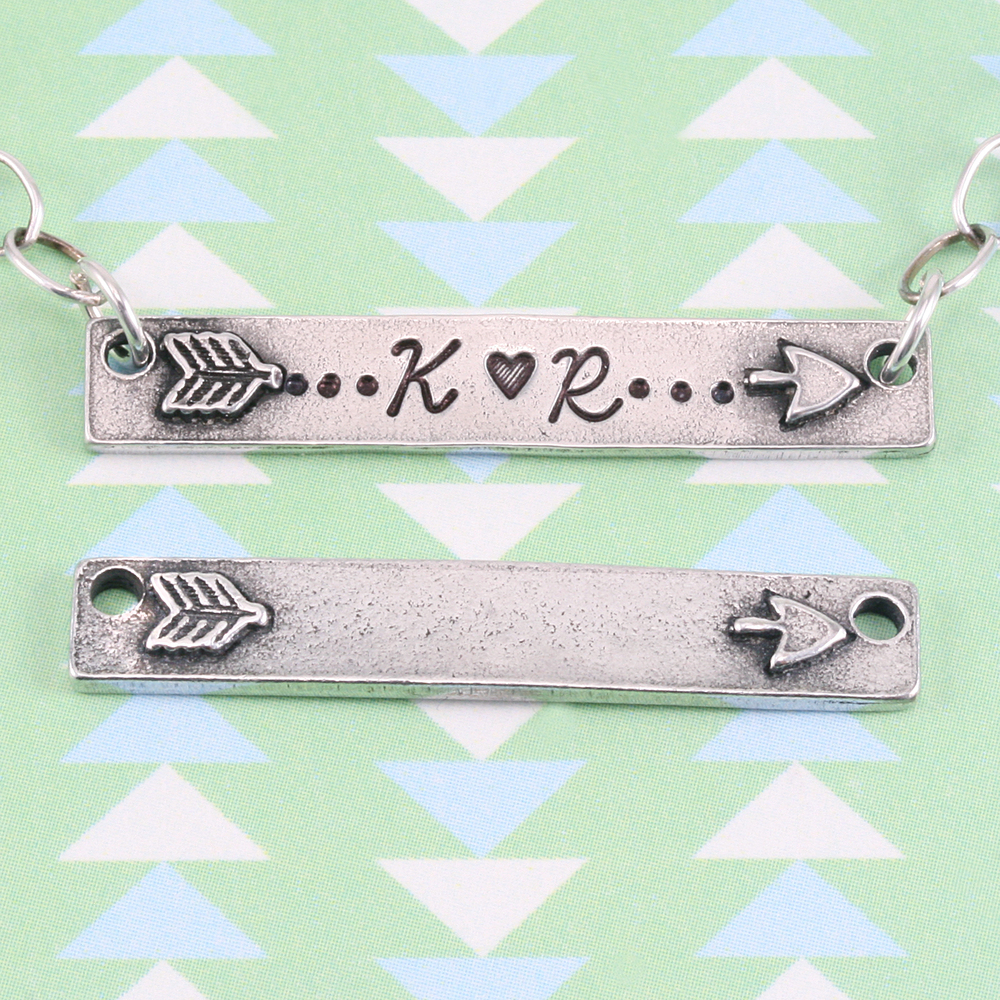 "Metal Stamping Blanks Pewter Rectangle Bar with Raised Split Arrow and Holes, 38mm (1.5"") x 6.4mm (.25""), 16g"