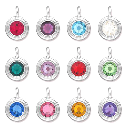 Charms & Solderable Accents Silver Plated Crystal Ruby Charm-July (Light Siam)