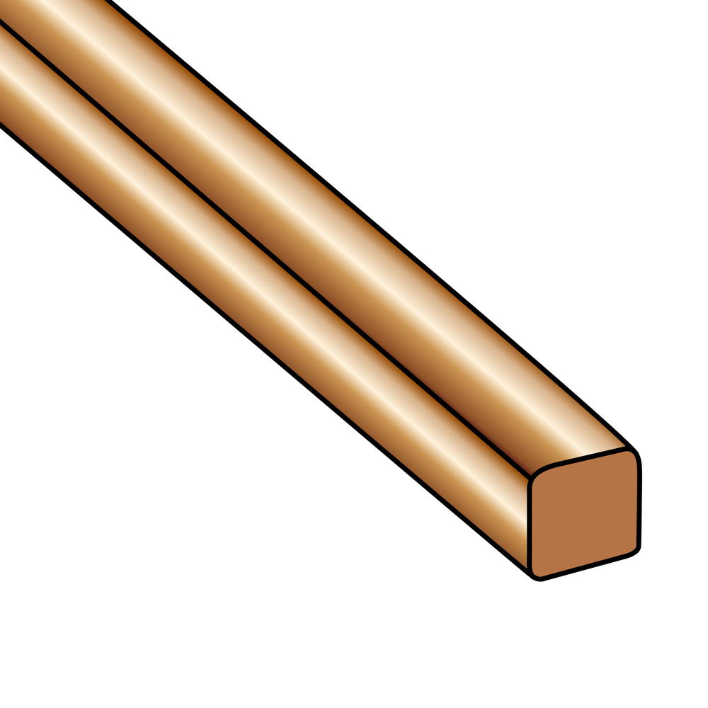 Wire & Sheet Metal 22g Copper Square Wire, 10ft