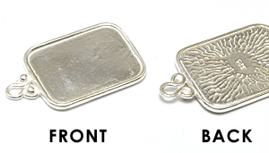 Metal Stamping Blanks Sterling Silver Rounded Rectangle Pendant w/Raised Edge