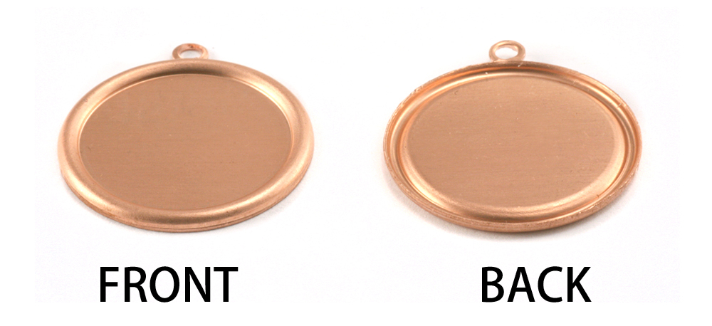 "Metal Stamping Blanks Copper 7/8"" (22mm) Pressed Circle w/Raised Edge"