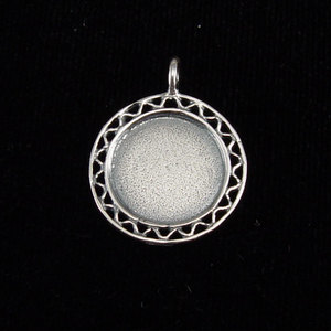 "Metal Stamping Blanks Sterling Silver Filigree Edge Pendant, 16mm (.63""), 19g"