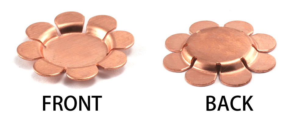 "Metal Stamping Blanks Copper Flower with 8 Raised Petals, 22mm (.87""), 24g , Pk of 5"