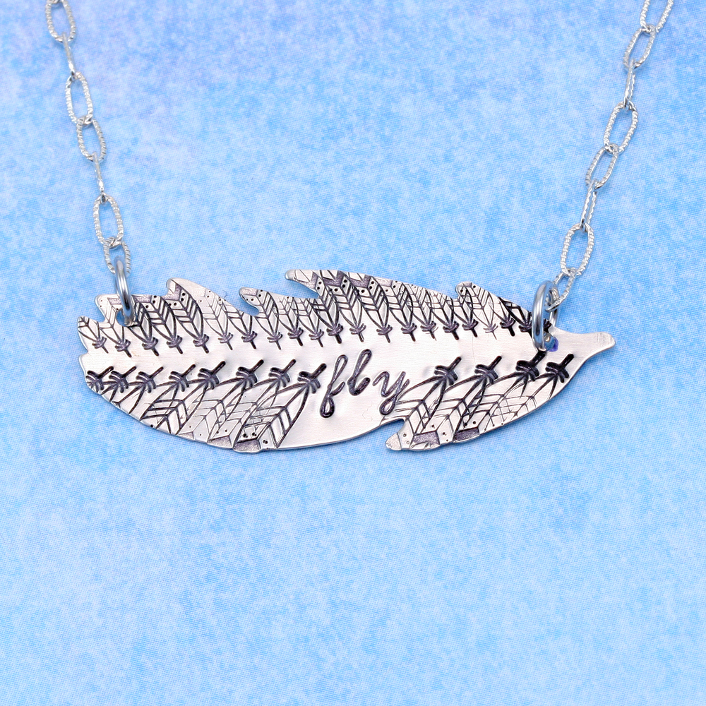 "Metal Stamping Blanks Sterling Silver Feather Blank, 40mm (1.57"") x 14mm (.55""), 24g"