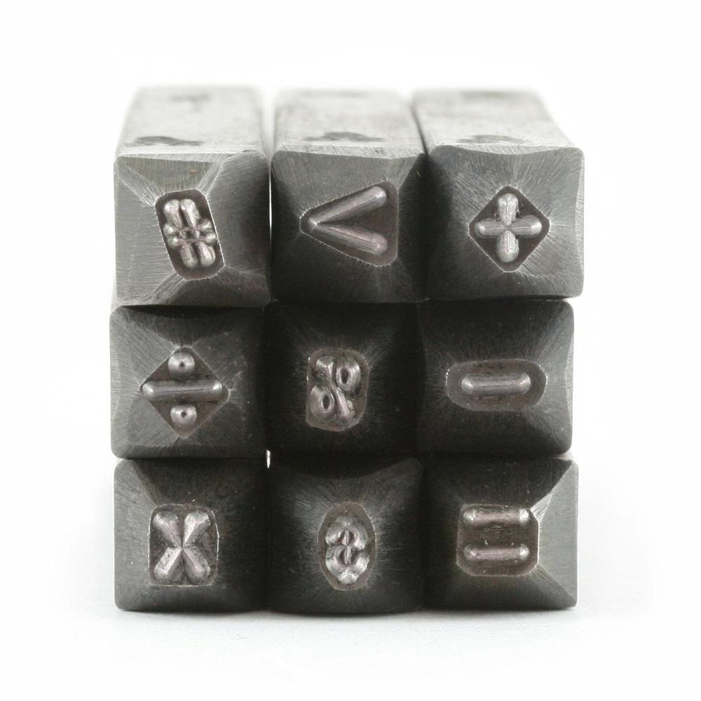 """Metal Stamping Tools USA Made 9 Piece Math Stamp Set 3/32"""" (2.4mm)"""