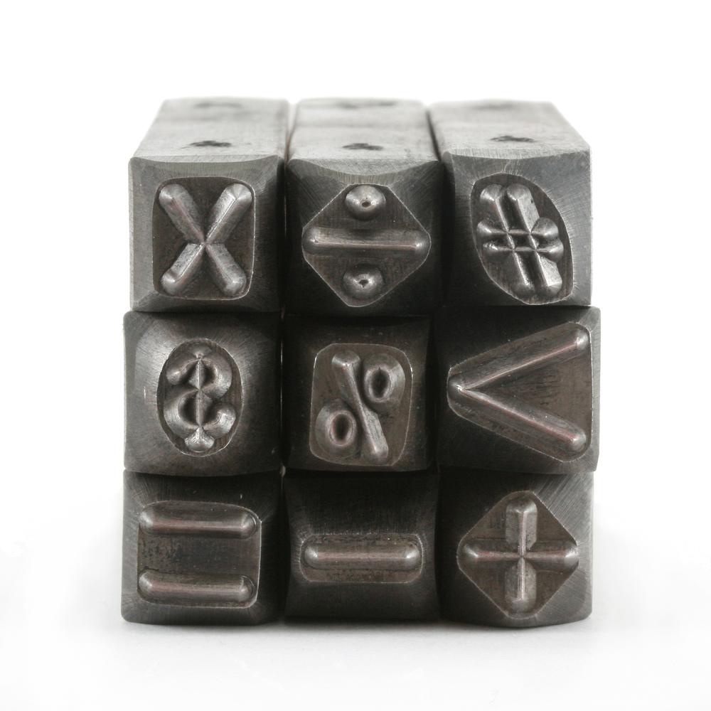 """Metal Stamping Tools USA Made 9 Piece Math Stamp Set 1/4"""" (6.4mm)"""