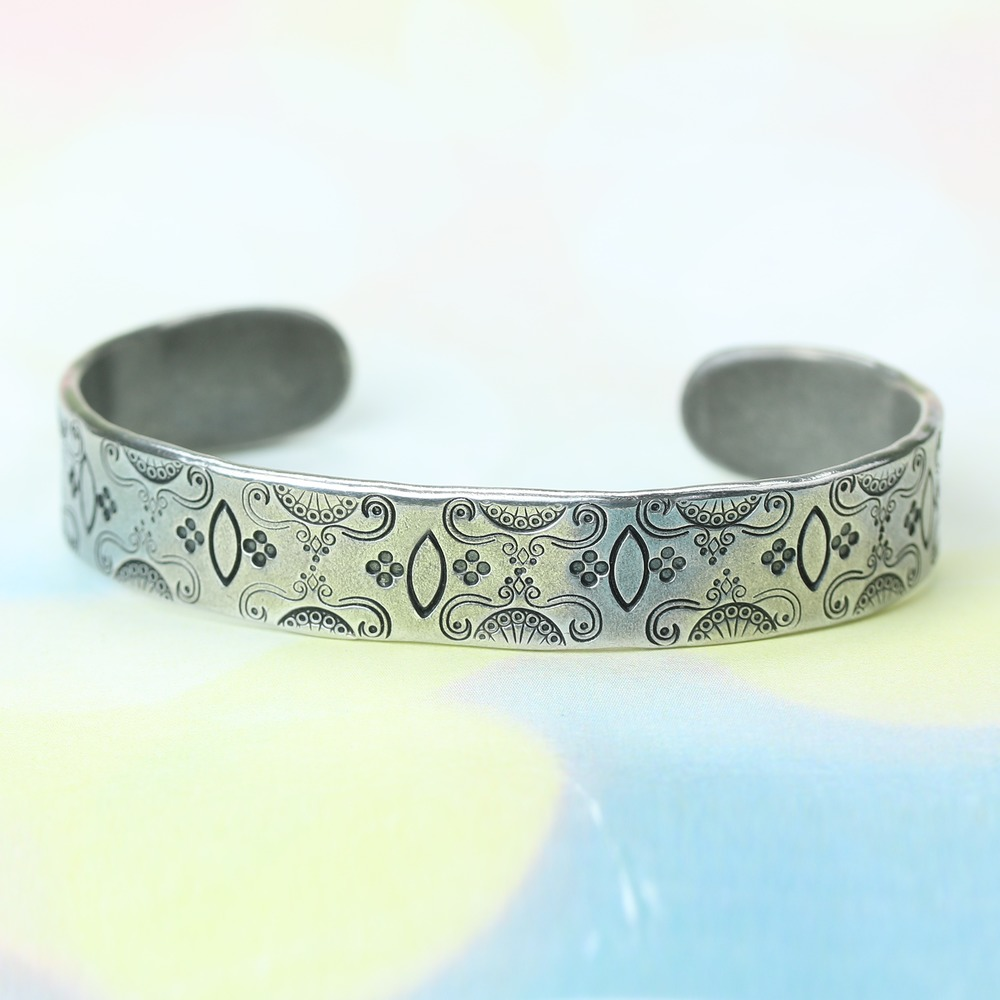 "Metal Stamping Blanks Pewter Bracelet Blank, 146mm (5.75"") x 12mm (.48""), 12g"