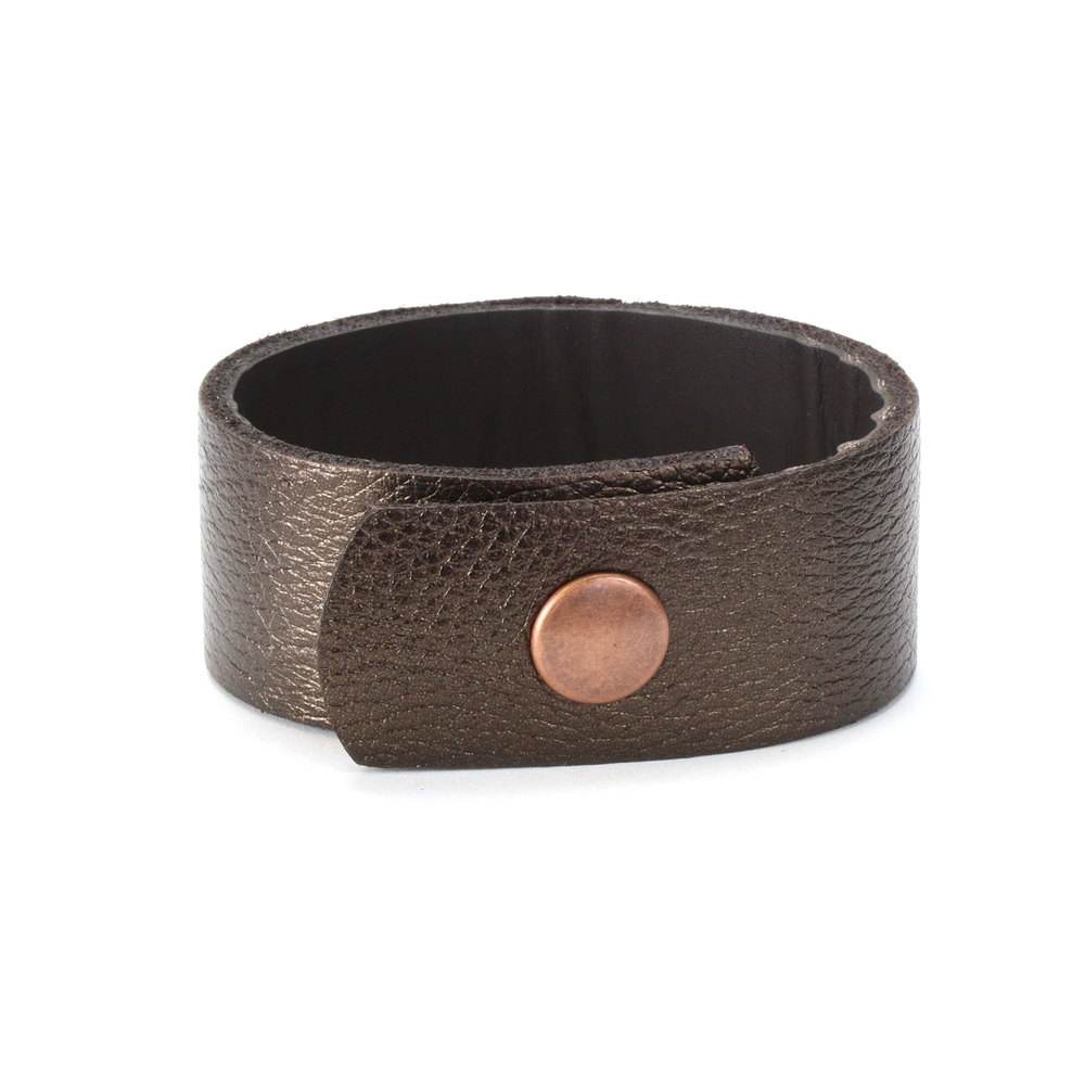 "Leather & Faux Leather Leather Cuff Bracelet 1"" Copper Bronze Metallic, 7"" Long"