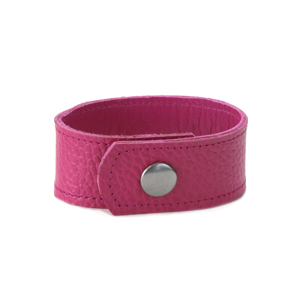 "Leather & Faux Leather Leather Cuff Bracelet 1"" Pink with Stitching, 7"" Long"