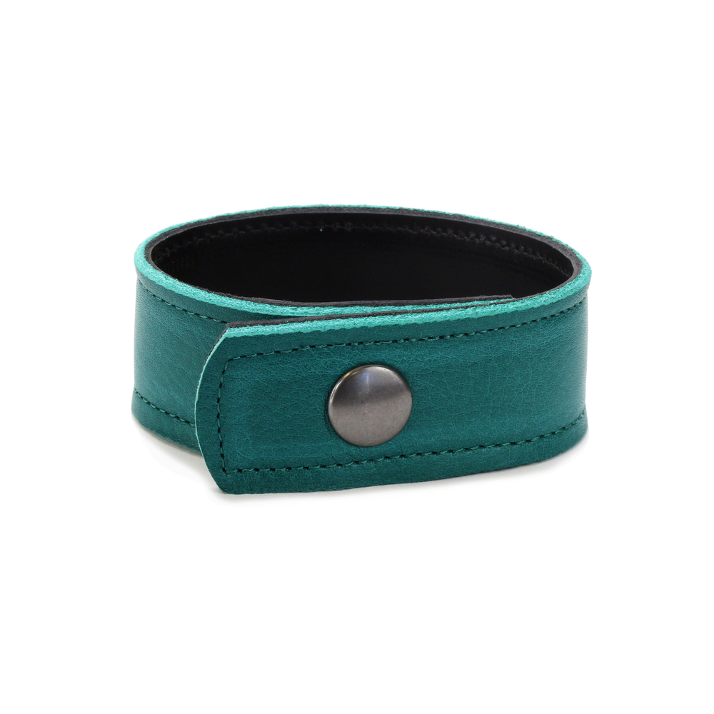 "Leather & Faux Leather Leather Cuff Bracelet 1"" Turquoise with Stitching, 7"" Long"