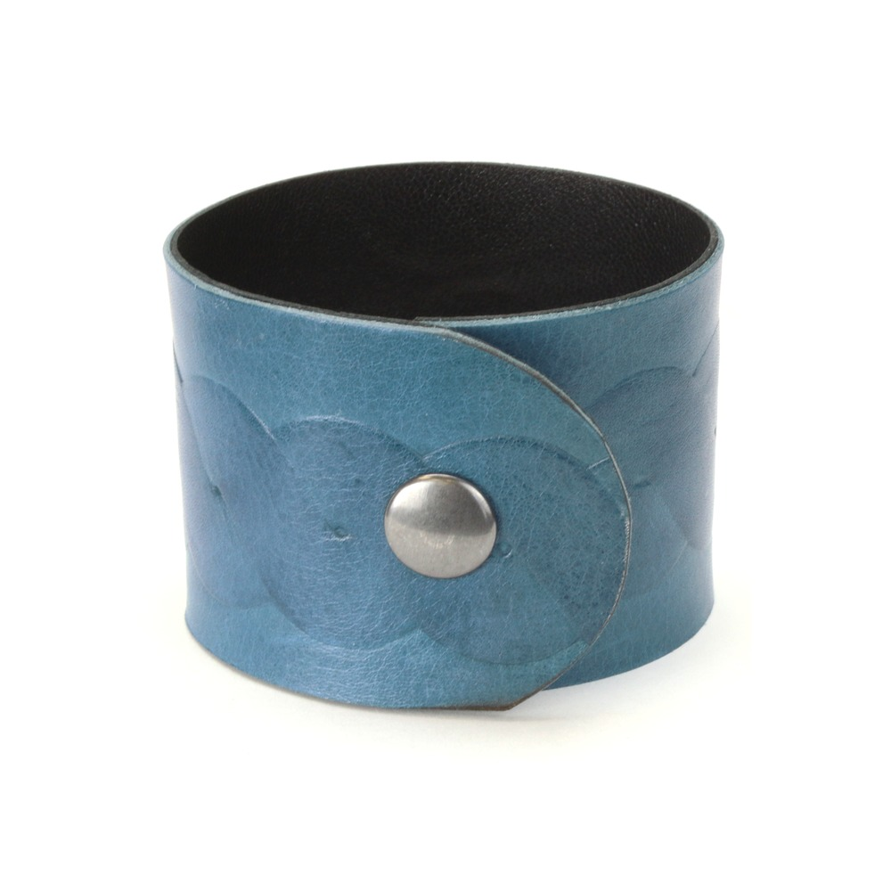 "Leather & Faux Leather Leather Cuff Bracelet 1.75"" Light Blue Jean with Twisted Knot, 7"""
