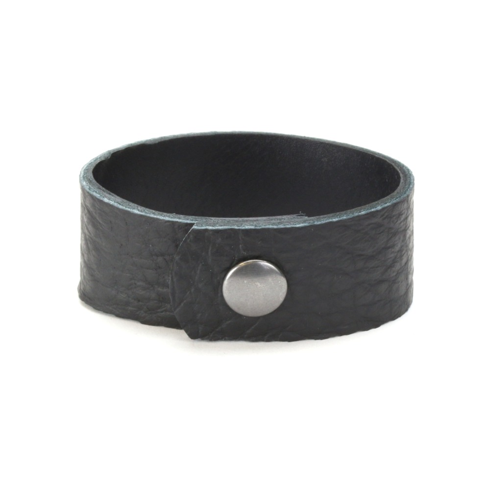 "Leather & Faux Leather Leather Cuff Bracelet 1"" Black Buffalo, 7"""