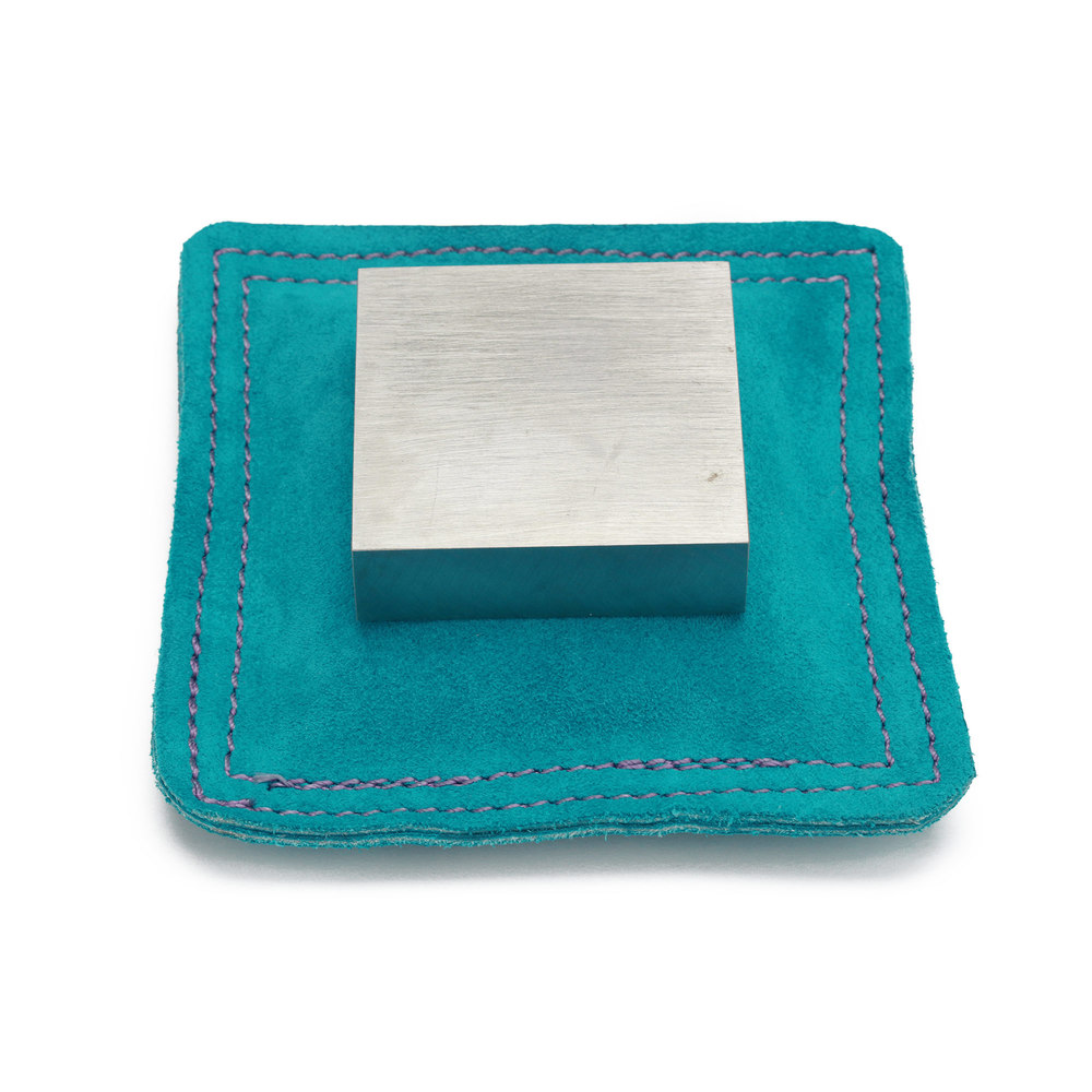 "Jewelry Making Tools Sandbag, Bench Block Pad - 5.5"" Square Teal Leather/Suede"