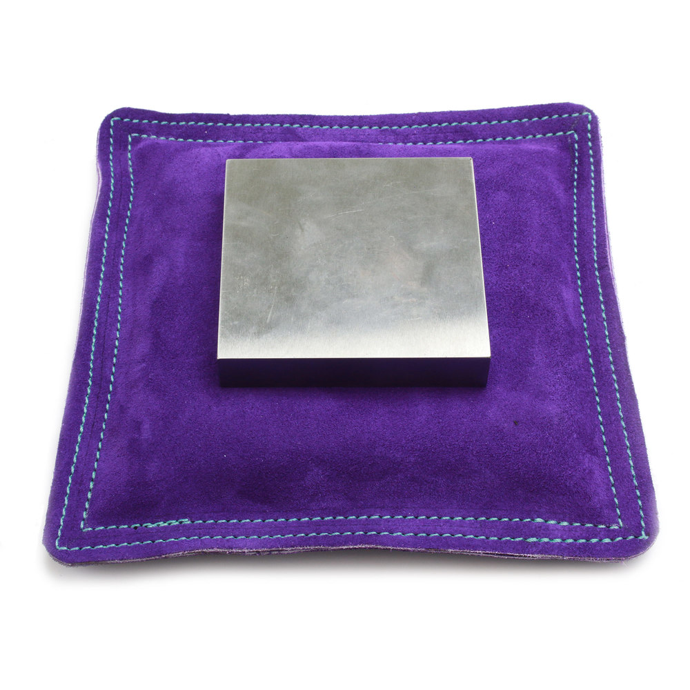 "Metal Stamping Tools 9"" Square Purple Leather/Suede Sandbag, Bench Block Pad"