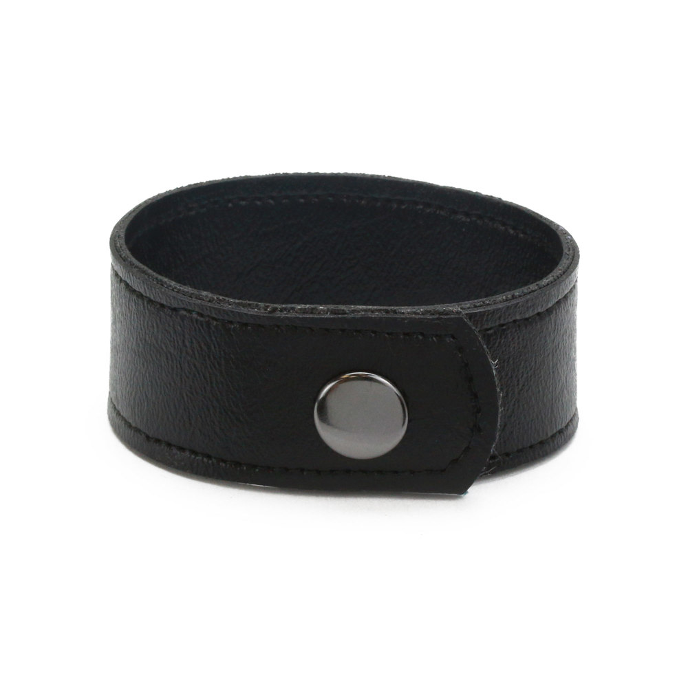 "Leather & Faux Leather Vegan Faux Leather Cuff Bracelet 1"" Black with Stitching, 7"" Long"