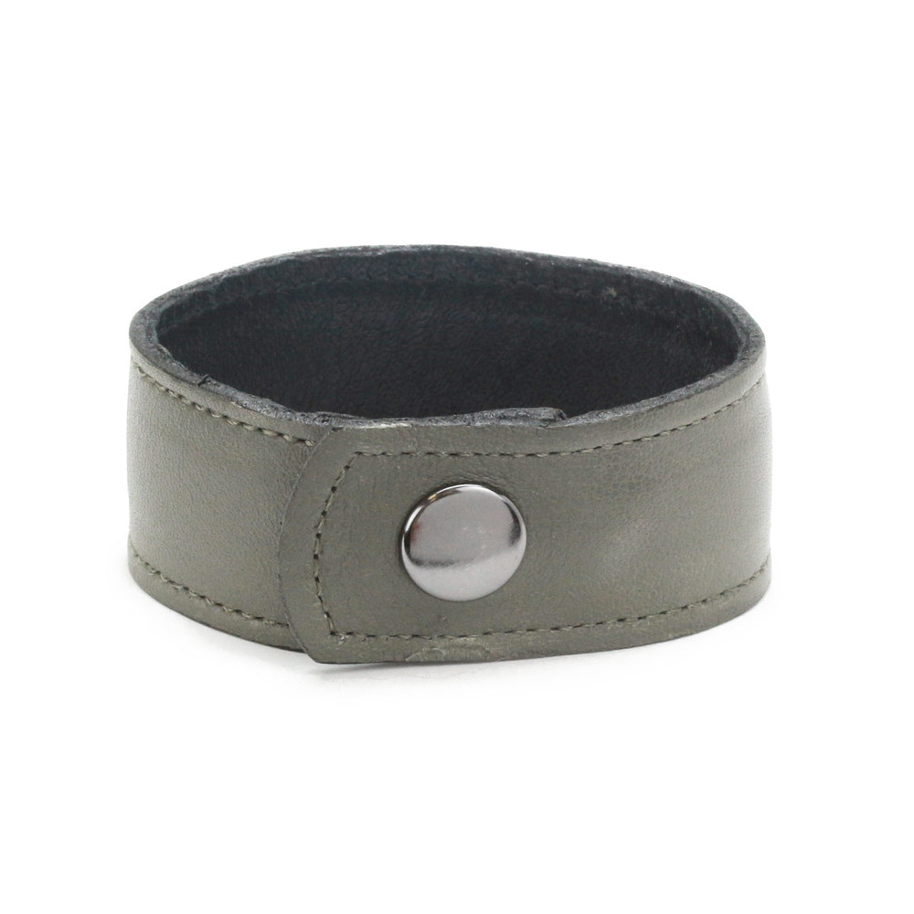"Leather & Faux Leather Leather Cuff Bracelet 1"" Gray with Stitching, 7"" Long"