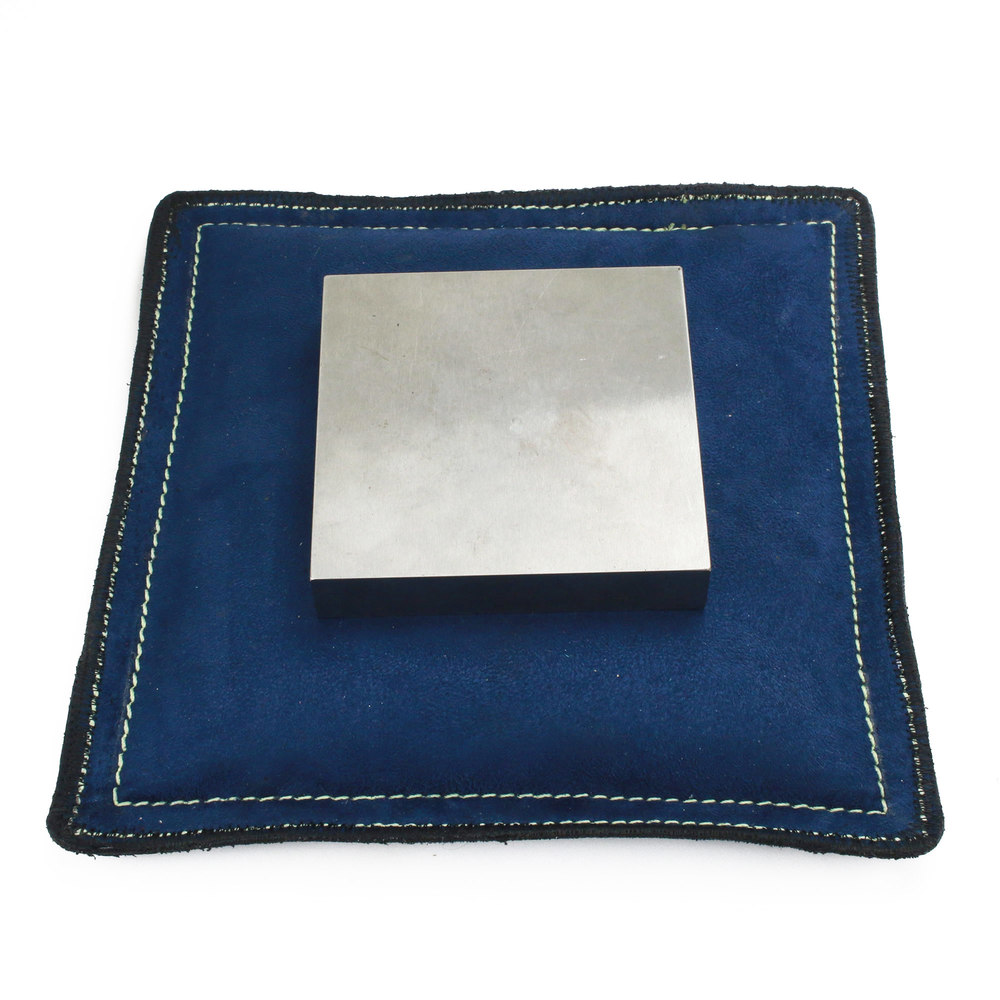 "Metal Stamping Tools 9"" Square Blue Vegan Faux Leather Sandbag, Bench Block Pad"