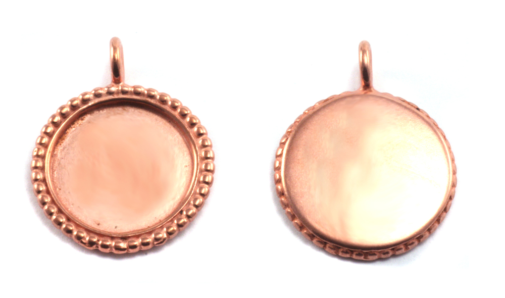 Metal Stamping Blanks Copper Circle Pendant with Dotted Edge, Medium