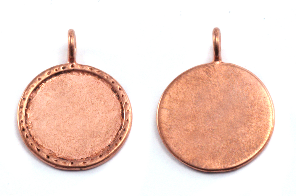"Metal Stamping Blanks Copper Circle with Textured Edge, 20mm (.79""), 16g"