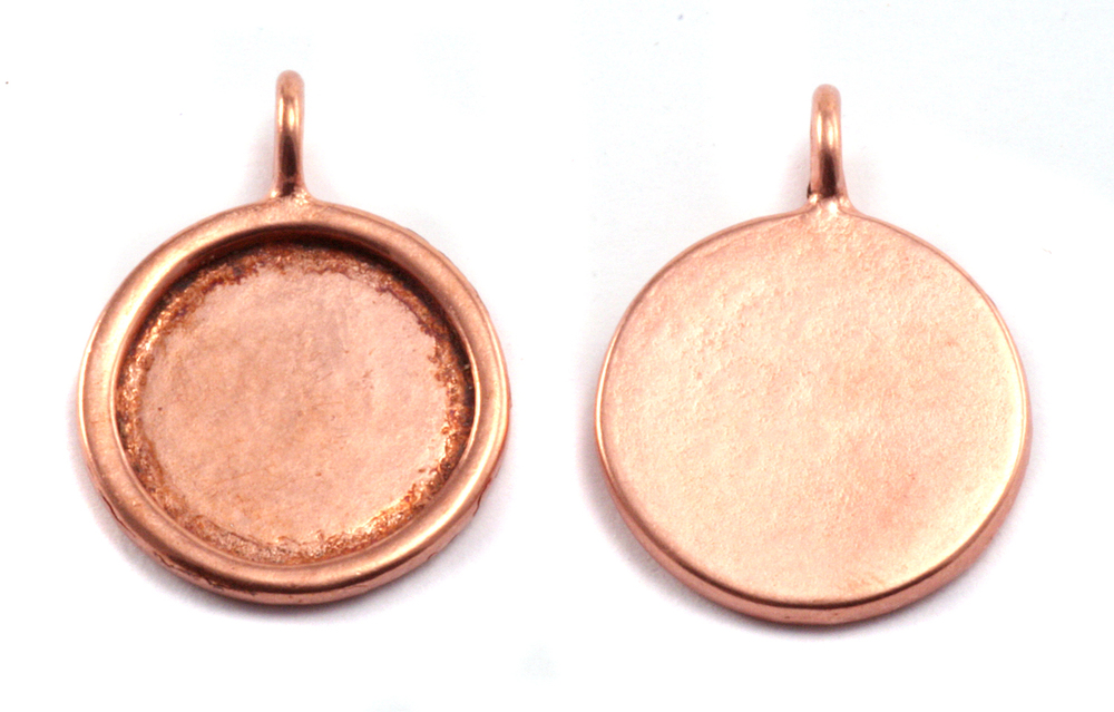 Metal Stamping Blanks Copper Circle with Smooth Raised Edge, Medium