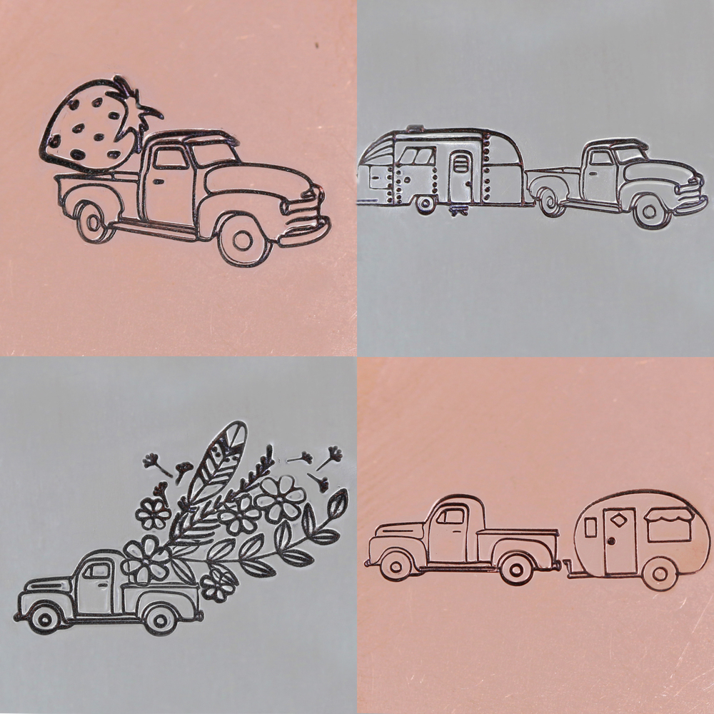 Metal Stamping Tools Vintage Truck 'Right Facing' Metal Design Stamp, 11mm - Beaducation Original