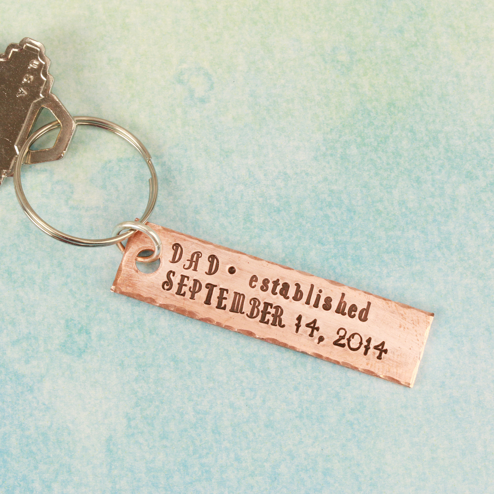 "Metal Stamping Blanks Copper Rectangle Keychain Blank with 3mm Hole, 50.8mm (2"") x 12.7mm (.5""), 14g"
