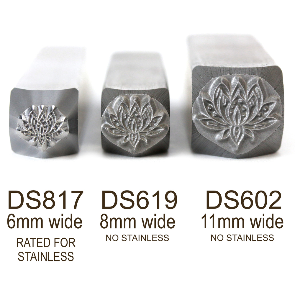 Metal Stamping Tools Lotus Flower Metal Design Stamp, 6mm - Rated for Stainless, Beaducation Exact Series by Stamp Yours