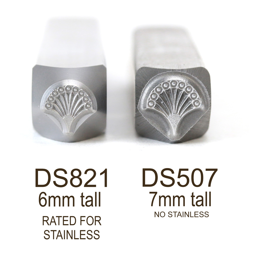 Metal Stamping Tools Fan 1, Art Deco Metal Design Stamp, 6mm - Rated for Stainless, Beaducation Exact Series by Stamp Yours