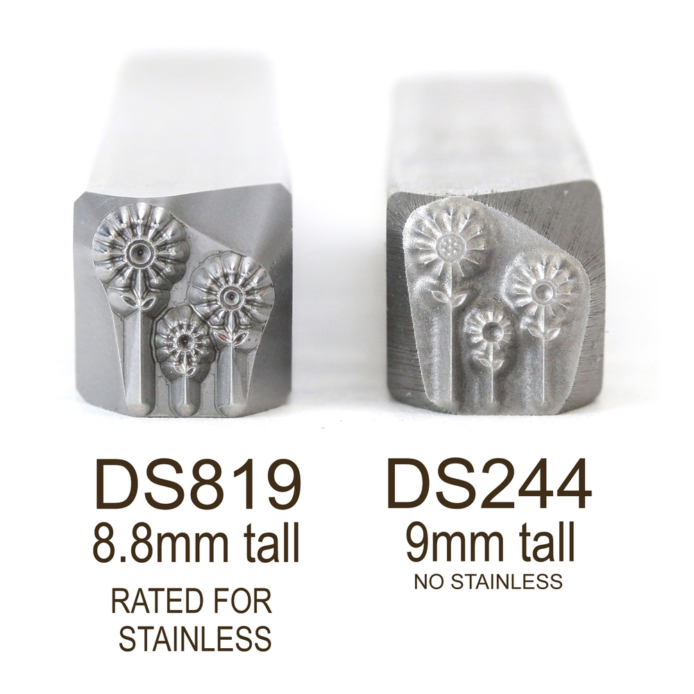 Metal Stamping Tools Three Flowers Metal Design Stamp, 8.8mm - Rated for Stainless, Beaducation Exact Series by Stamp Yours