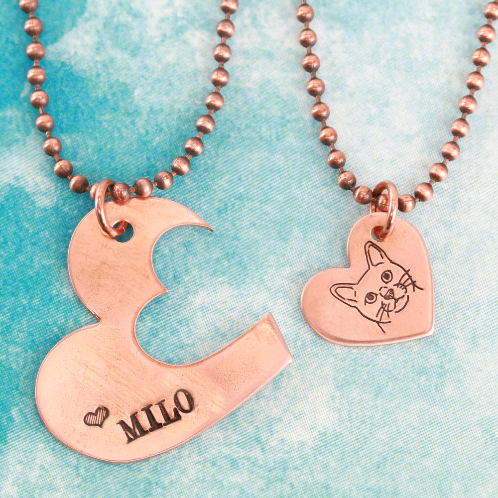 "Metal Stamping Blanks Copper Hearts with Offset Heart Cutout, 30mm (1.18"") x 25mm (.98""), 20g, Pk of 5 - Tumbled"