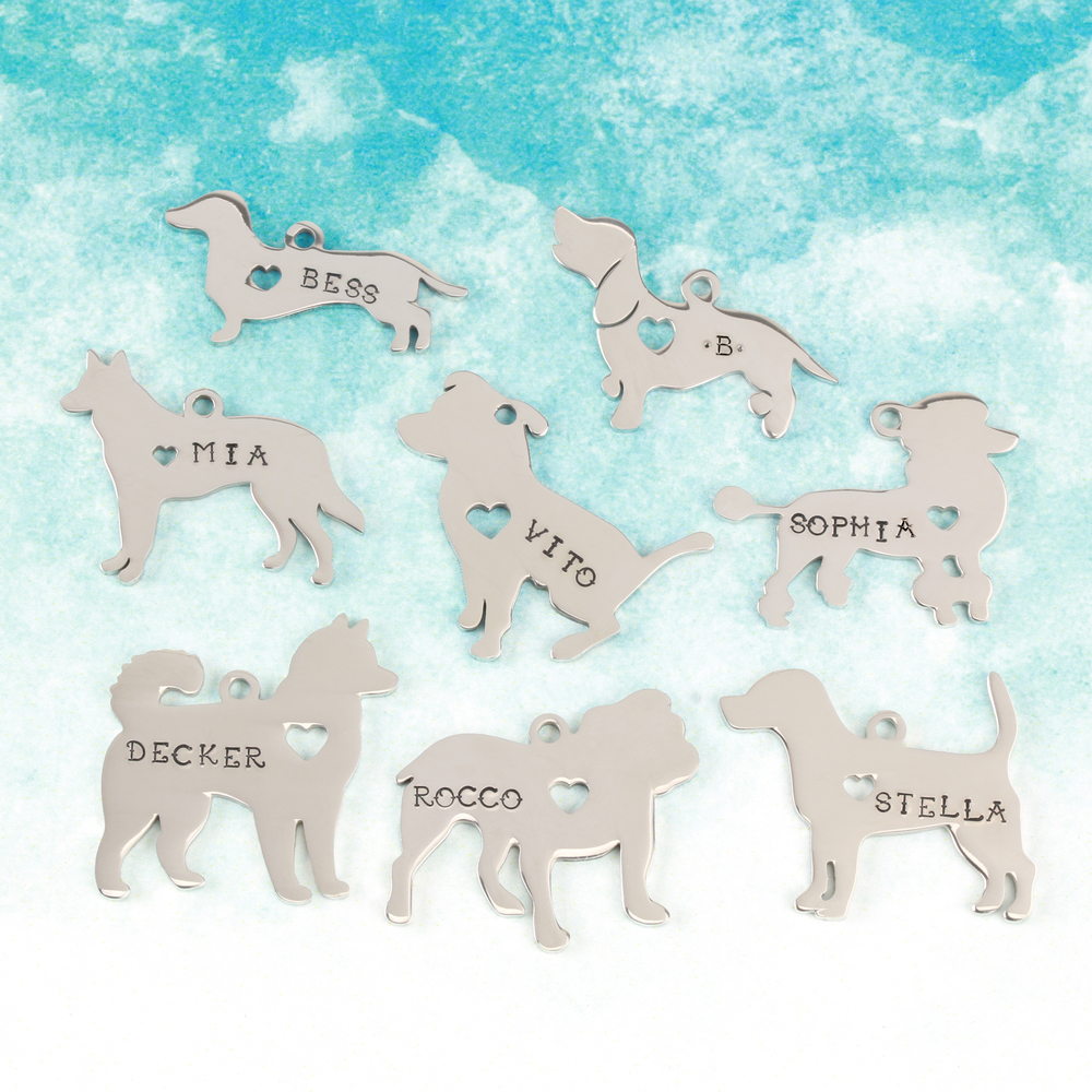 "Metal Stamping Blanks Stainless Steel Dachshund Dog with Heart Cutout and Top Loop, 29mm (1.14"") x 15mm (.59""), 14g"