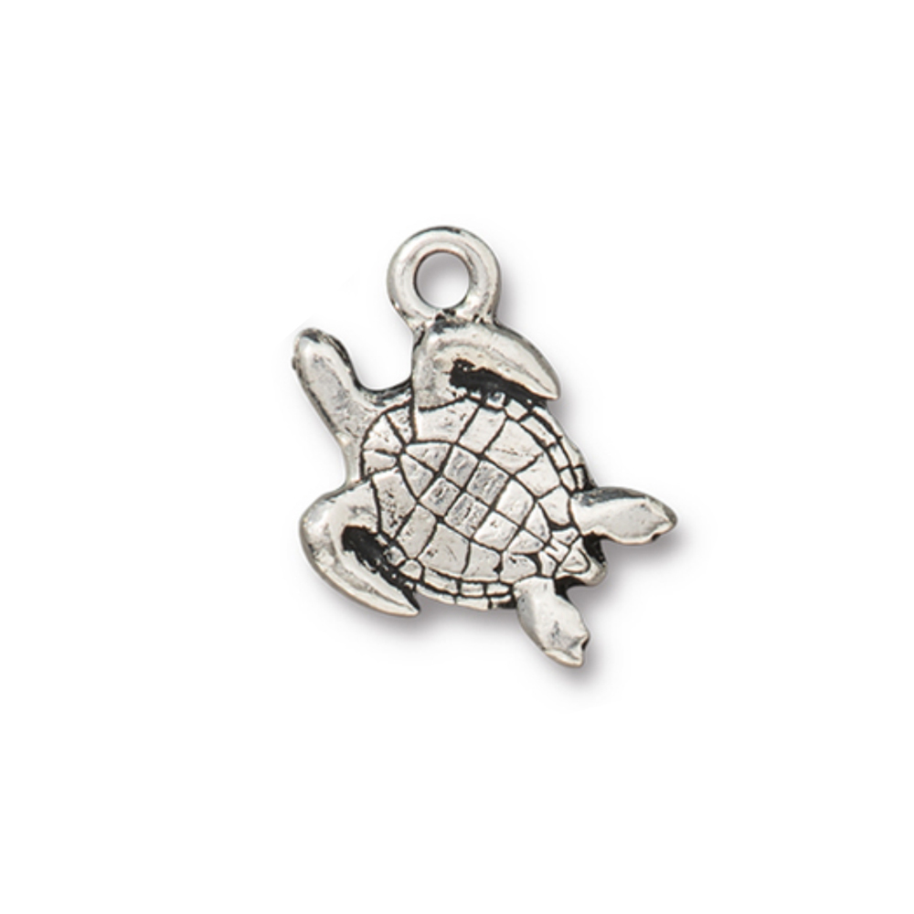 Charms & Solderable Accents Sea Turtle Charm, Silver Plated Pewter, 14mm