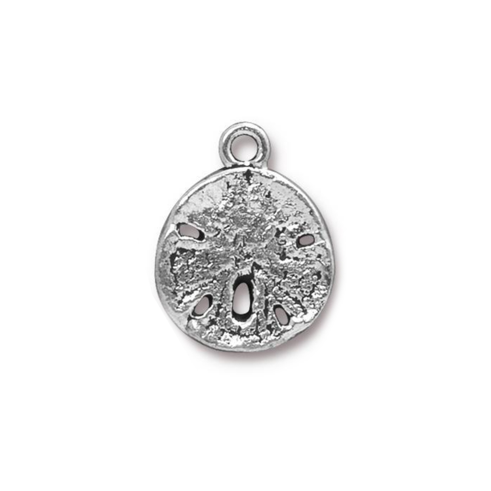 Charms & Solderable Accents Sand Dollar Charm, Silver Plated Pewter, 21mm