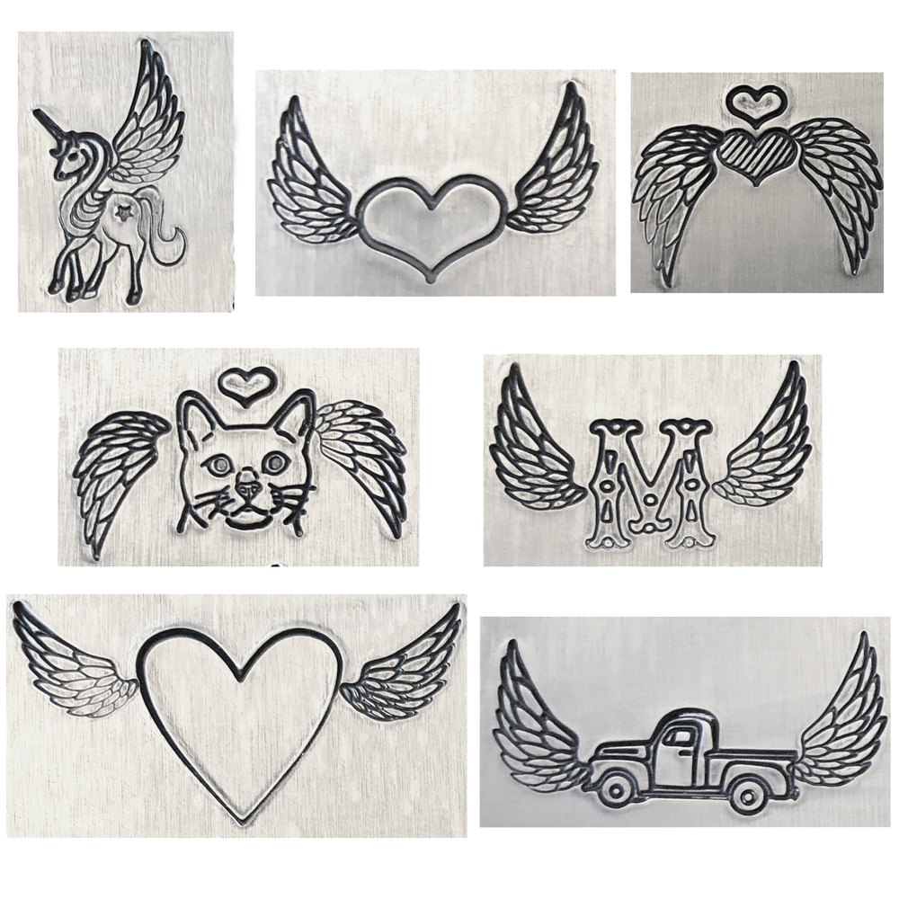 Metal Stamping Tools Wings Metal Design Stamps, 8mm - Beaducation Original