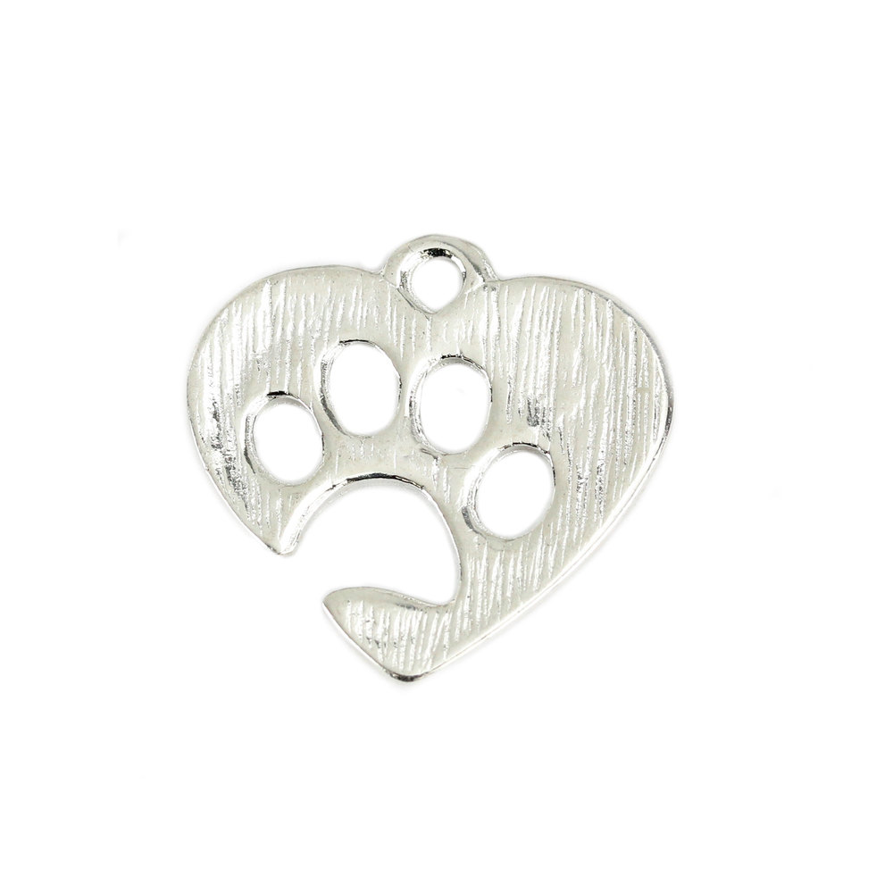 Charms & Solderable Accents Base Metal Heart Charm with Paw Cutout, Pack of 10