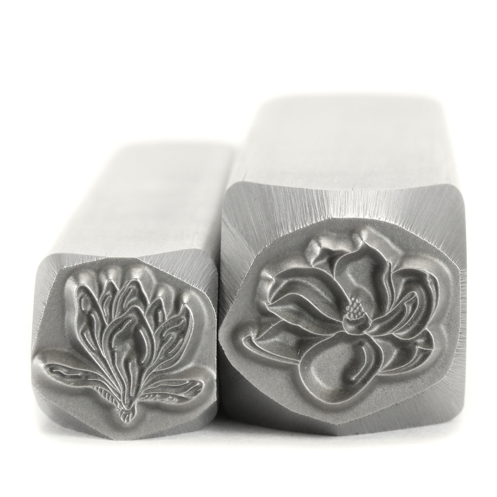 Metal Stamping Tools Magnolia Half Closed Flower Bud Metal Design Stamp, 8.2mm - Beaducation Original