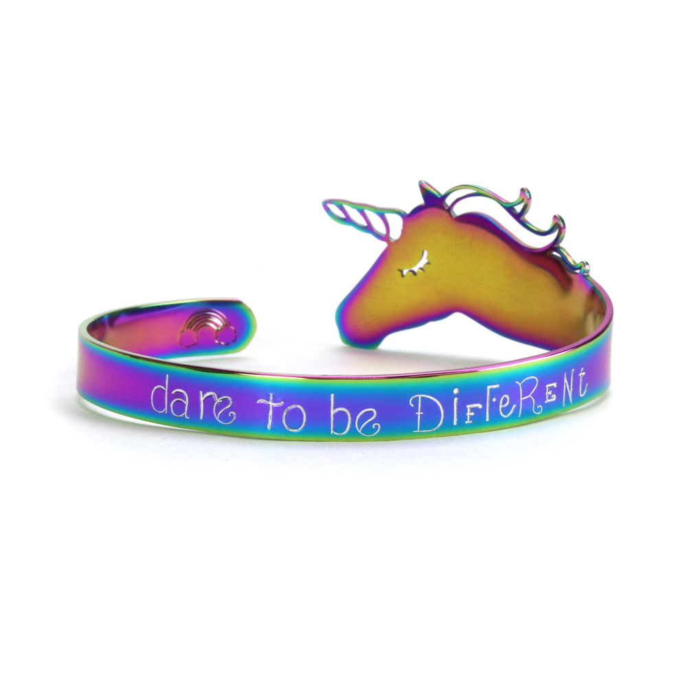"Metal Stamping Blanks Stainless Steel, Rainbow Color Unicorn Bracelet Blank, 152mm (6"") x 8.5mm (.34"")"