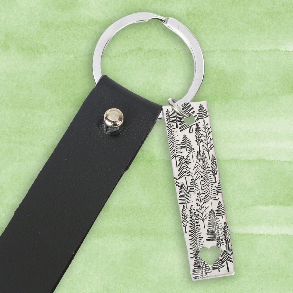 Rivets and Findings  Base Metal Key Ring with Black Faux Leather Strap