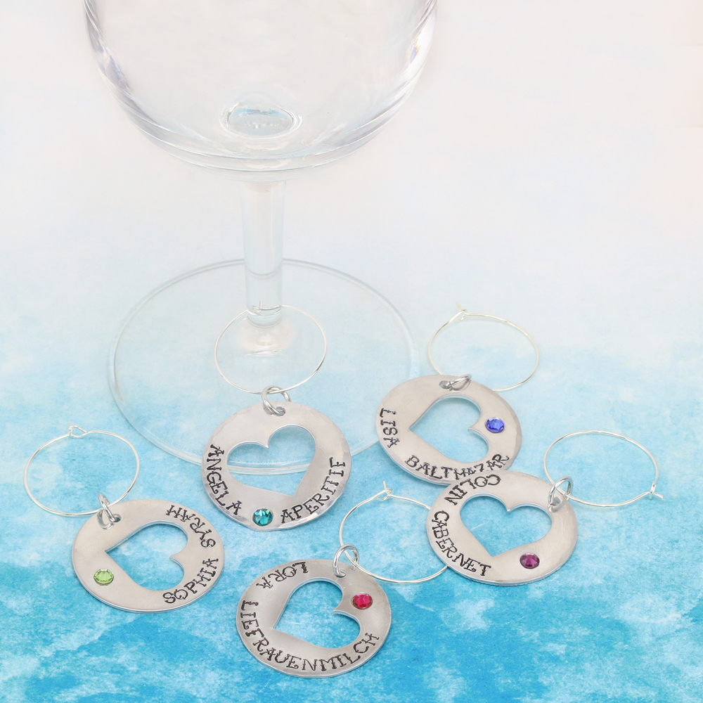 Rivets and Findings  Wine Charm Rings, Silver Color