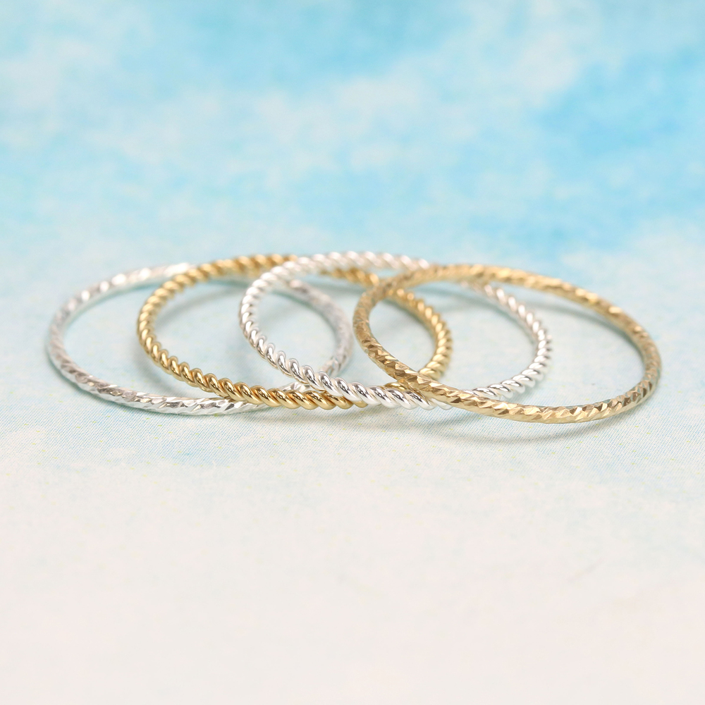 Metal Stamping Blanks Sterling Silver Twisted Stacking Ring, SIZE 8