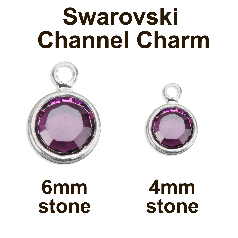 Charms & Solderable Accents Swarovski Crystal Channel Charm (Light Amethyst - JUNE), 6mm Stone, Pack of 8