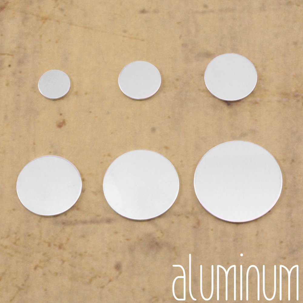 "Metal Stamping Blanks Aluminum Round, Disc, Circle, 9.5mm (.37""), 18g, Pk of 5"
