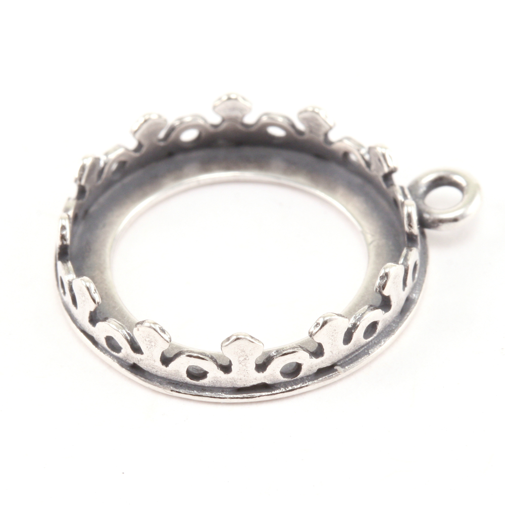 Rivets,  Findings & Stringing Sterling Silver Flower Bezel for 14mm Rivoli