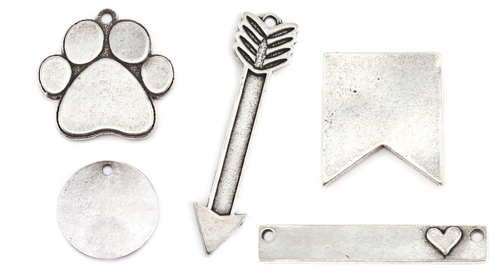 "Metal Stamping Blanks  Pewter Heart with Raised Awareness Ribbon, 19.2mm (.76"") x 15.8mm (.62""), 16g"