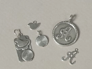 Charms & Solderable Accents Nickel Script Letter Charm U, 24g