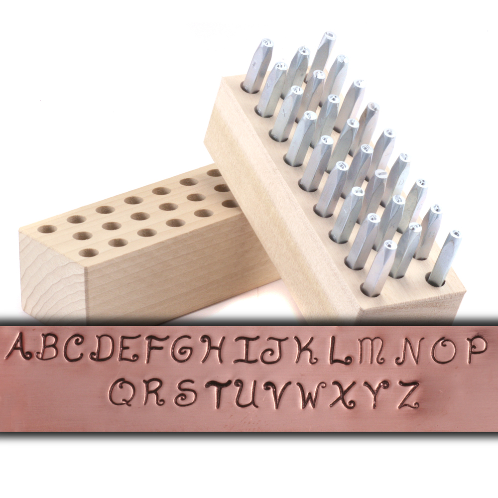 "Metal Stamping Tools USA Made Block Uppercase Letter & Number Stamp Set 3/32"" (2.4mm)"
